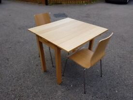 Ikea Bjursta 50-90cm Oak Veneer Exending Table & 2 Chairs FREE DELIVERY 327