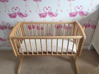 Mothercare swing crib and mattress