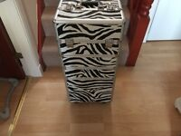 Zebra print black and white Mobil, Hairdressing/Beauty trolley. 4-1. Never been used