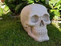 Skull ;cast stone garden ornament