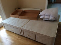 King Size Divan 4 Drawers As New with Quilt NO Mattress