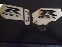 gsxr 600 750 riders stainless steel heel guards ( polished finish ).