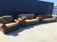 SCS 3 Piece Suite Brown Leather/Fabric Sofas