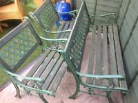 Garden table, bench & 2 chairs cast iron & wood patio lawn furniture seating