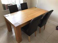 * CHUNKY SOLID OAK TABLE AND 6 CHAIRS-GREAT CONDITION. CASH ONLY *