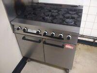 6 Burner gas hobs and oven. Commercial kitchen cafe restaurant bakery
