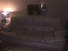 *FREE* 3 seater white / cream leather sofa