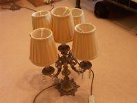PAIR OF BEAUTIFUL VINTAGE STYLE 5 LIGHT GOLD GILT & DIAMANTE TABLESLIGHT