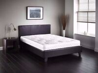 "- Double Leather Bed with 10"" Dual-Sided White Orthopedic Mattress- Single available"