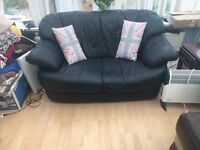 Dark leather sofa - ideal if space is limited!!