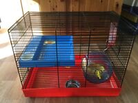HAMSTER CAGE & ACCESSORIES. USED BUT IN GOOD CONDITION.