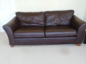 M+S Brown large leather sofa