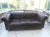 Chesterfield Quality Leather 3 Seater Brown Sofa