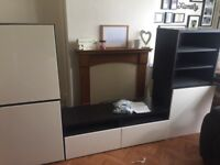 IKEA BESTA UNITS .... dark brown with cream gloss doors ... VGC ... floor or wall fittings incl