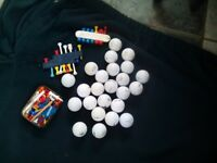 24 golf balls-tees-holders-ball markers-pitch repairer