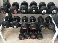 32.5-50kg dumbbells and rack