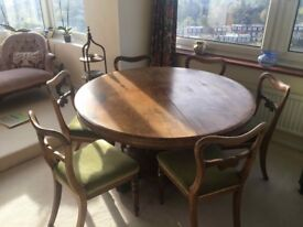 Rosewood Victorian Tilt-top table and 6 Rosewood upholstered chairs