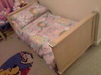 Mamas and papas cot bed, wardrobe, dresser and storage chest