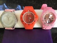 3 watches silicone straps on 2 Adjustable easy to read