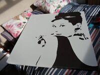 Large Canvas of Audrey Hepburn Black & White Screen Print Ikea