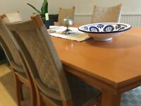 Dining table (extends 6-10) with 6 chairs