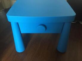Ikea mammut blue bedside table and chair