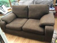 Fabric chocolate brown 2 seater sofa