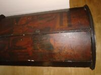 Early Georgian painted bow-front corner cupboard