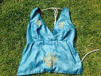 Blue Indian embroidered halter neck top