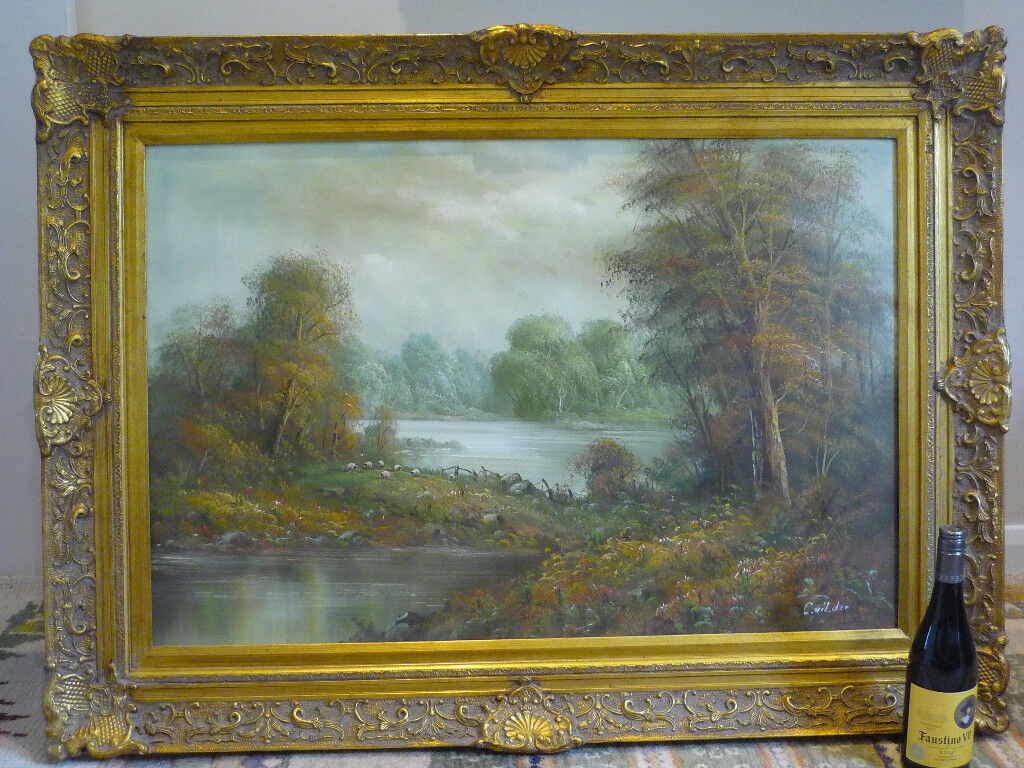 Large John Constable Style English Landscape Oil Painting