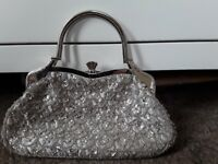 Silver beaded handbag, with diamantés on clasp clousure silk lining immaculate £10