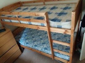 Pine Bunk Beds & 2 single mattresses, excellent condition