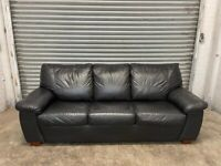 FREE DELIVERI REAL BLACK LEATHER 3 SEATER SOFA BED GOOD CONDITION