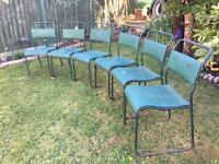 Industrial set of 6 garden chairs