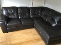 Dark brown corner real leather suite sofa and 2 seater excellent condition chair