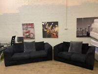 HARVEYS BLACK FABRIC CORD 3+2 SOFA SET IN EXCELLENT CONDITION FREE DELIVERY