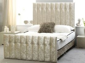 Brand New Kingsize Cream Velvet Bed