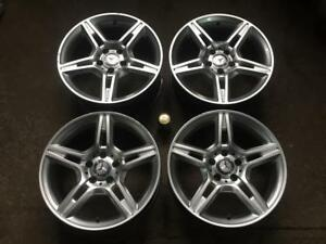 "4 MERCEDES ""AMG"" 17"" REPLICA 5 DOUBLE SPOKE SILVER MAGS"