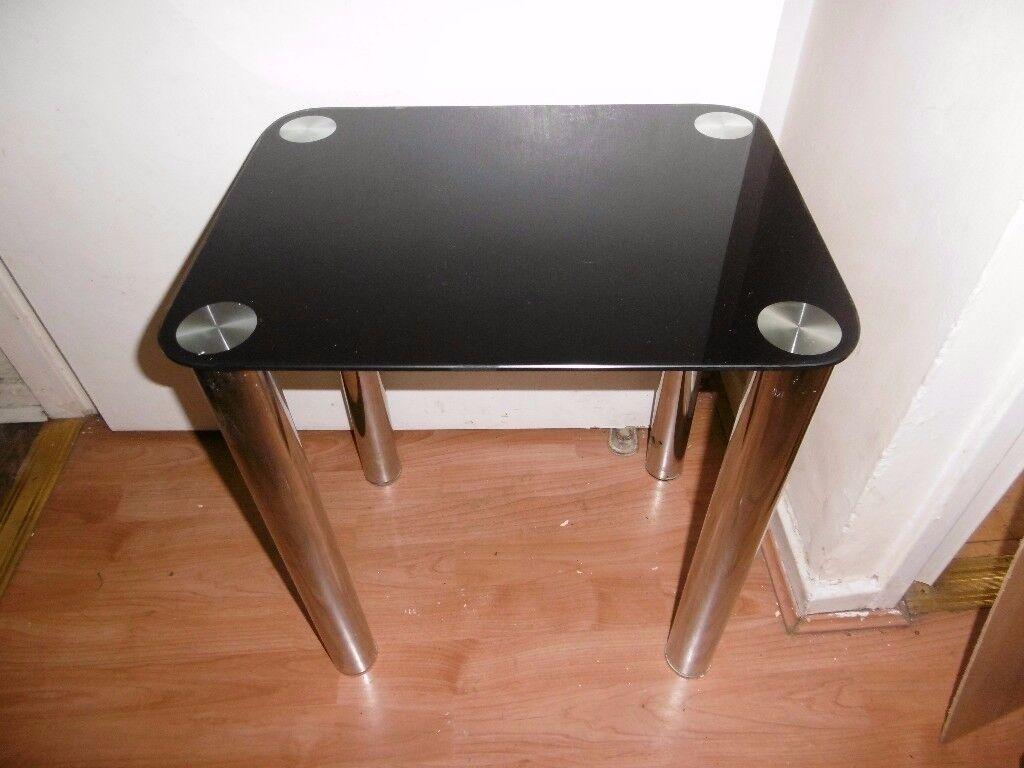 Black glass chrome legs ,side ,bedside. table