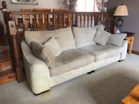 2 Sofas - Three Seater Beige and Two Seater Brown