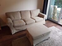 Ikea 3 seater sofa with ottoman / footstool (Free Delivery)