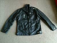 Cross hatch leather look jacket