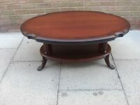 Beautiful Solid Dark Wood 2 Tier Oval Coffee Table
