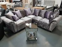 Brand New Crush Velvet Corner Sofa. Silver And Lilac. RRP £589. Ready For Pick Up Or Delivery.