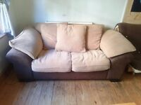 Large, comfortable two seater fabric/leather sofa with feather cushions (AMAZING VALUE FOR MONEY!!)