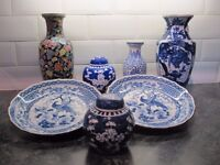 COLLECTION OF SEVEN PIECES OF VINTAGE ORIENTAL CHINESE CERAMICS