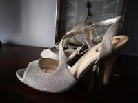 Silver party shoes size 5 by Debut at Debenhams, never been worn. Collection only