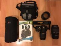 Nikon D60 SLR digital camera with kit lens 18-55mm & Sigma 70-300mm lens