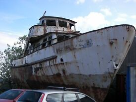 very large project motoryacht requiring complete overhaul 55ft steel ideal as houseboat 12 berths
