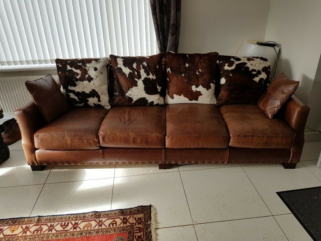 Cowhide Sofas And Side Table Now Further Reduced Must Go Due To Overseas Relocation In Whitby North Yorkshire Gumtree